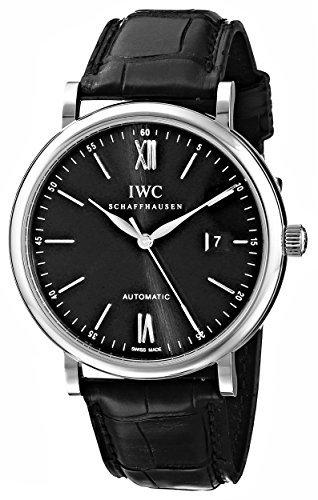 IWC Men's IW356502 Portofino Automatic Black Dial Watch by IWC