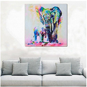 ODN Colorful Palette Abstract Impression Oil Painting Elephant Mother and elephant child Wall Picture Prints on Canvas Wall Art for Bedroom Living Room (50x50cm)