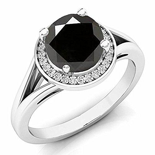 1.70 Carat (ctw) 14 ct White Gold Black Diamond & Diamond Halo Style Bridal Engagement Ring