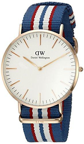Daniel Wellington Belfast Rose Men's Quartz Watch with White Dial Analogue Display and Multicolour Nylon Strap 0113DW