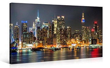 MANHATTAN NIGHT LIGHTS – Premium canvas art print Wall-Deco – 100x50cm XXL Giclee Canvas Print, Wall Art Canvas Picture, Canvas picture stretched on a frame, Canvas image in High Definition