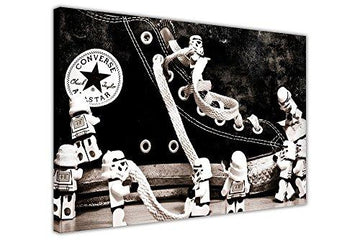 BLACK AND WHITE RETRO CANVAS WALL ART PRINTS LEGO STAR WARS STORMTROOPERS ON CONVERSE TRAINERS PICTURES POP ART