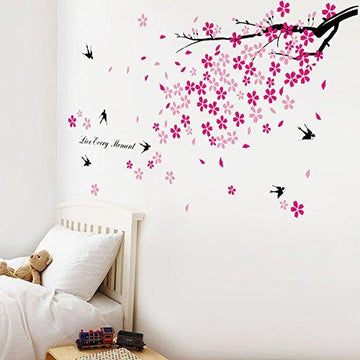 Walplus Swallow Flowers Wall Stickers - Office Home Decoration, 150cm x 80cm, PVC, Removable, Self-Adhesive, Pink