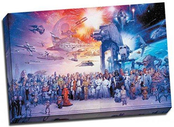 Star Wars Complete Cast Canvas Print Large 30x20 Inches A1