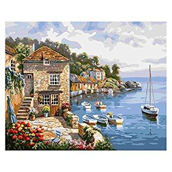 Seascape Paint Wall painting - TOOGOO(R) Seascape Paint Wall DIY Painting By Numbers Digital Canvas Oil Painting Frameless Pictures Home Decor For Living Room(40*50CM)