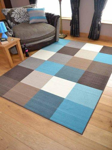 Trend Teal Squares Design Rug. Available in 8 Sizes (60cm x 110cm)