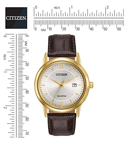 Citizen AW1232-04A Men Quartz Watch With Silver Dial Analogue Display and Brown Leather Strap
