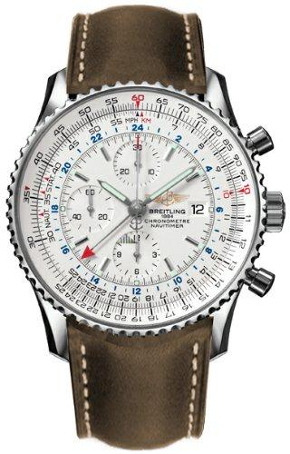 Breitling Navitimer World Steel Brown Strap Watch A2432212-G571BRLT