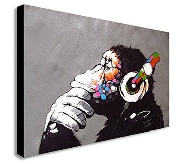 BANKSY DJ MONKEY CANVAS WALL ART PRINT VARIOUS SIZES (A1 32X24inch)