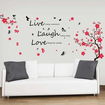 Walplus Wall Stickers Flower Blossom Butterflies Quote Live Laugh Love Mural Art Home Decoration DIY Living Bedroom Office Décor Wallpaper Kids Room Gift, Multi-colour