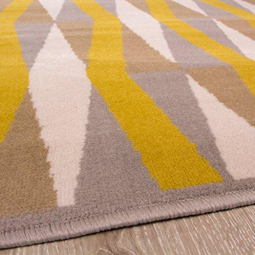 Milan Ochre Mustard Yellow Grey Beige Diamond Tile Geometric Traditional Living Room Rug 120cm x 170cm