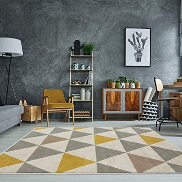 Milan Ochre Mustard Yellow Grey Beige Harlequin Triangles Traditional Living Room Rug 80cm x 150cm