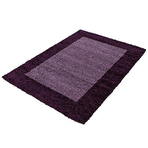 Designer rugs&carpets Non-Shedding Shaggy living room long pile carpets square 30 mm pile height 1503, Size:120x170 cm, Color:Purple
