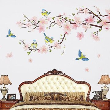 Wopeite Floral Wall Decal Sticker DIY Self - Adhesive Flower Peach Blossom Tree Branch Instant For Living Room Bedroom 45 X 60CM