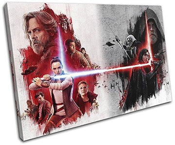 Bold Bloc Design - Star Wars The Last Jedi Poster Gaming 60x40cm SINGLE Canvas Art Print Box Framed Picture Wall Hanging - Hand Made In The UK - Framed And Ready To Hang 13-2455(00B)-SG32-LO-B