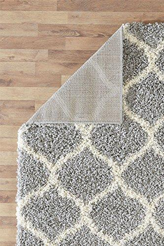 "A2Z RUG Cozy Super Trellis Shaggy Rugs Silver & Ivory 80x150 cm -2'6""x4'9"" ft Contemporary Living Dinning Room & Bedroom Soft Area Rug"