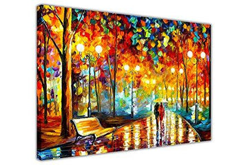 AT54378D: New Rains Rustle By Leonid Afremov On Framed Canvas Picture Wall Art Prints City Scenery Size: 30
