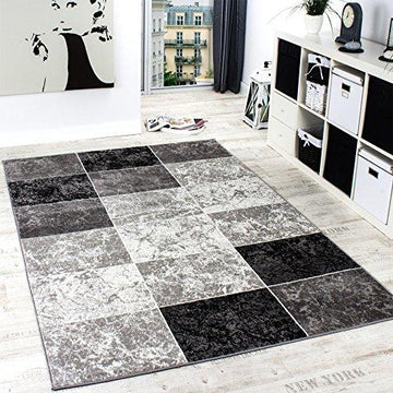 Designer Rug Chequered in Marble Visual Effect Flecked Grey Black White , Size:80x150 cm