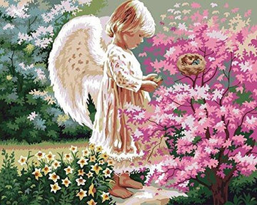 [ New Release ] Diy Oil Painting by Numbers, Paint by Number Kits - Angel lovingly 16*20 inches - Digital Oil Painting Canvas Wall Art Artwork Landscape Paintings for Home Living Room Office Christmas Decor Decorations Gifts - Diy Paint by Numbers Diy Can