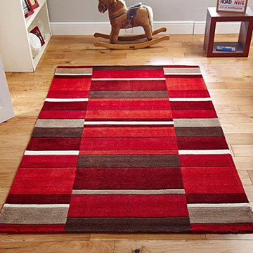 Jazz Wool Blocks Rug Red Wine Cream Trendy Colours 120 x 170cm (4ft x 5ft6 approx)