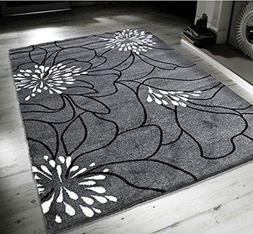 New Blossom Grey Black White Extra Large Quality Home Rug 120x170cm
