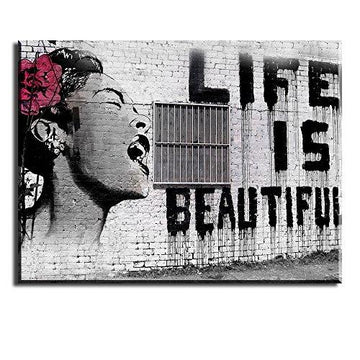 PIY Painting Graffiti Canvas Print Life is Beautiful HD oil painting Waterproof ECO-ink print with pre-stretched Image Street Pop Art pictures ready hanging perfect for Home Decor