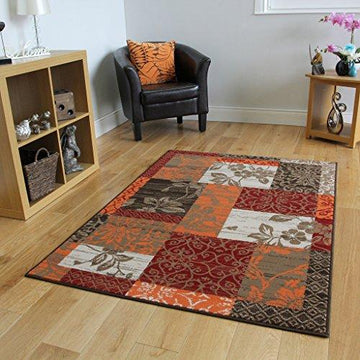 Milan Brown, Red, Orange, Beige & Cream Patchwork Rug 1568-S22 - 10 Sizes