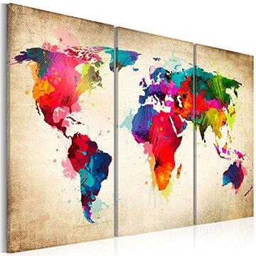 murando - Image 120x80 cm - Image printed on non woven canvas - Wall art print picture - Photo - 3 pieces - world map k-A-0006-b-f