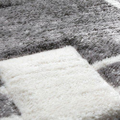 Luxury Designer Rug - Contour Cut - Geometric Checked - Mottled Grey Black, Size:80x150 cm