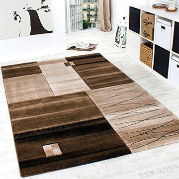 Luxury Designer Rug - Contour Cut - Geometric - Mottled Brown Beige Cream, Size:120x170 cm