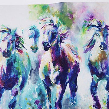 ODN Colorful Palette Ten thousand steeds Gallop Oil Painting of Horse Prints on Canvas Wall Art for Bedroom Living Room 50x50cm