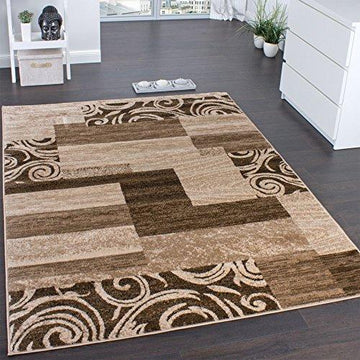 Designer Rug for Living Room Interior Decoration Rug Flecked Beige Brown, Size:120x170 cm