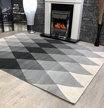 Venus Diamond Light Grey Beige Soft Touch Quality Extra Large Home Floor Rug (Dark Grey, 120x170cm)
