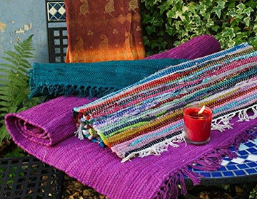 Fair Trade Hand Loomed Multi Coloured Rag Rug 60cm x 90cm