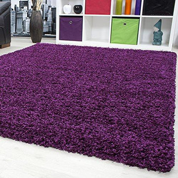 SMALL - EXTRA LARGE SIZE THICK MODERN PLAIN NON SHED SOFT SHAGGY RUG REC & ROUND WEIGHT APPR. 2600 GR DEEPT 50 MM LIVING ROOM SHAGGY RUGS SUITABLE FOR UNDERFLOOR HEATING FLOKATI RUGS, Color:Purple, Size:60x110 cm