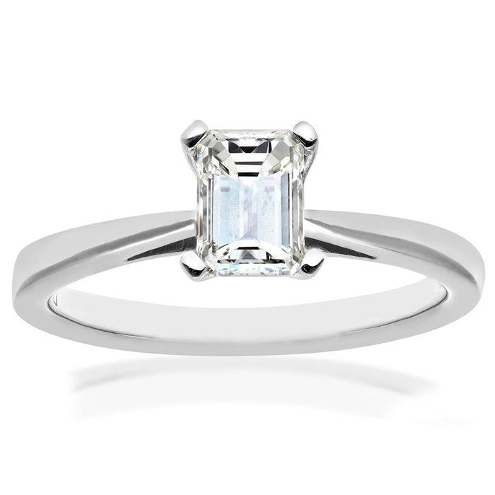 Naava Women's Platinum 4 Claw Tapered Solitaire Engagement Ring, F/VS1 EGL Certified Diamond, Emerald Cut, 0.82ct