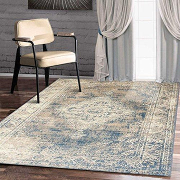A2Z Rug Vintage Traditional Santorini Collection Blue 160x230 cm - 5.5x7.5 ft Area Rugs