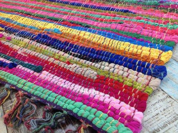 Fair Trade Second Nature Fringed Fair Trade Multi Coloured Fringed Chindi Rag Rug Mat - Choose from over twelve sizes! (60cm x 90cm)