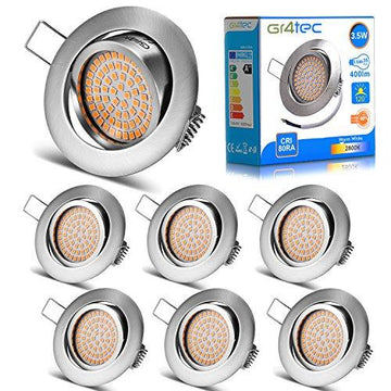 Gr4tec 6 x LED Recessed Lighting Ultra Slim Ceiling Spotlight Integrated Downlights 230V 3.5W Warm White 2800K 400LM Replace 35W Incandescent IP20 Not Dimmable for Kitchen Living Room with Rotation Frame