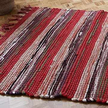 SPICE COLOURS FAIR TRADE RAG RUG HAND LOOM INDIAN 100% RECYCLED COTTON (60x90)