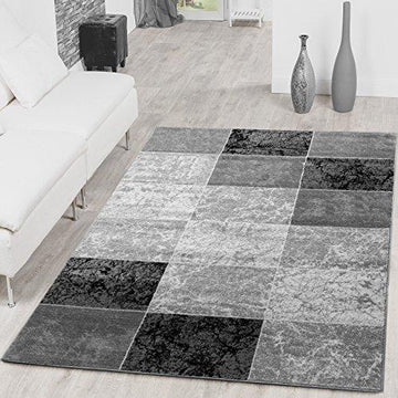 Affordable Check Design Modern Living Room Rug Grey/Black Top Preis, Polypropylene, grey, 120x170 cm
