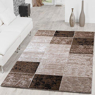 Modern Rug with Check Square Design for the Living Room Brown Beige Cream, 80 x 150 cm