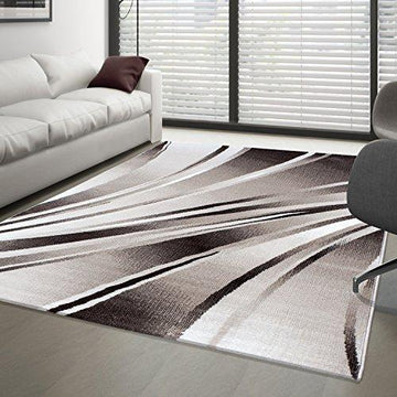 Modern Short Pile Rug, Abstract Carpet for Living Room, Different Colours / Sizes, Polypropylene, brown, 120x170 cm