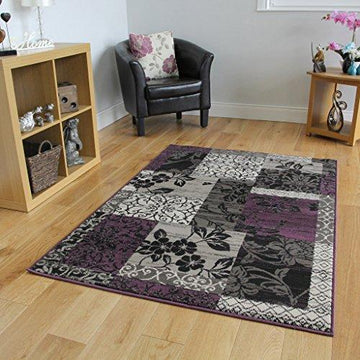 Milan Purple, Black & Grey Patchwork Rug 1568-H33 - 10 Sizes
