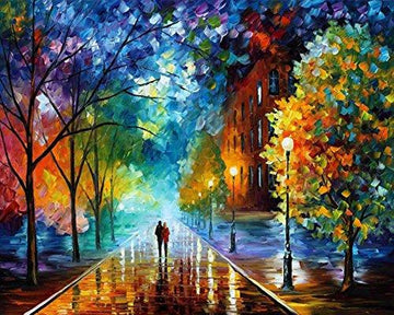 Paint by Number Kit,Diy Oil Painting Drawing Romantic Street Lovers Walks In the Street Canvas with Brushes Christmas Decor Decorations Gifts - 16*20 inch Frameless