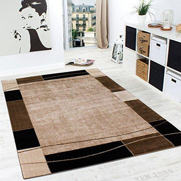 Designer Rug Living Room Rug Modern Border in Brown Beige Unbeatable Deal , Size:80x150 cm