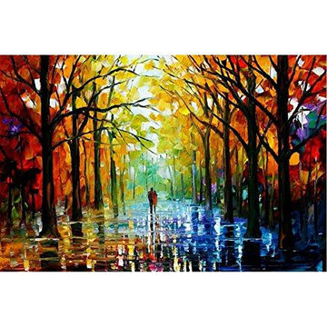 Van Eyck Couple Walking in Tree-lined Paths Colorful Palette Knife Oil Painting of Tree Wall Canvas linen Art Prints Pictures Wall Art for Bedroom Living Room HD-175