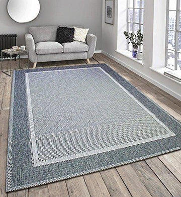 Flatweave Border Design Very Hardwearing - Indoor or Outdoor Rug Patio / Living Room / Dining Room Use - (Grey, 120x170cm)