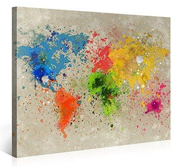 Large Canvas Print Wall Art – World Map Watercolour Explosion - 100x75cm - Modern Art XXL Giclee canvas print, Wall Art canvas picture - Canvas print stretched on a frame - XXL Canvas images in High Definition