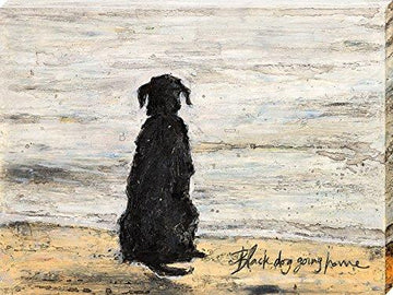 Art Group The Sam Toft Black Dog Going Home Canvas Print, Cotton, Multi-Colour, 1.8 x 30 x 40 cm